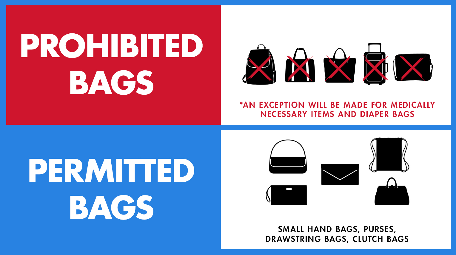 Blue Cross Arena bag policy
