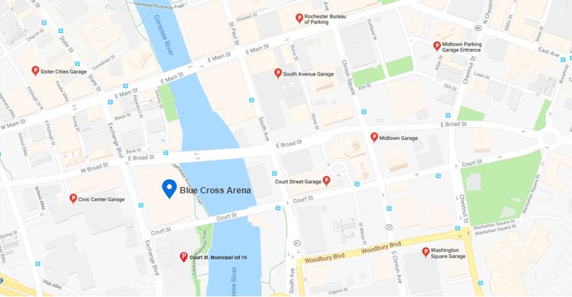 Blue Cross Arena parking map