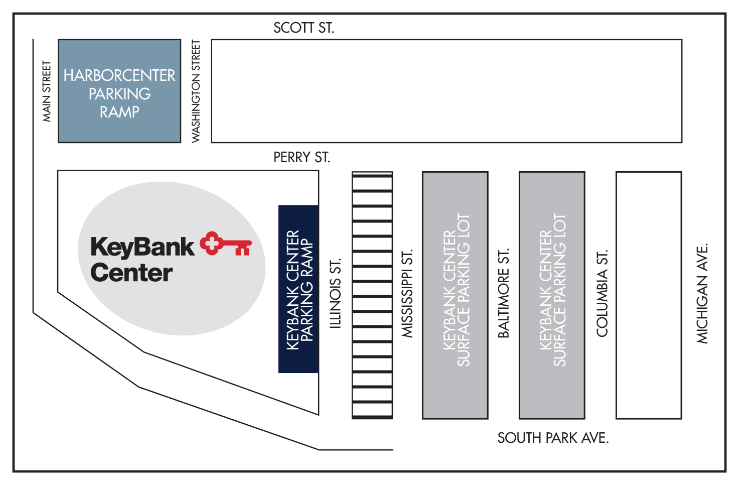 KeyBank Center Parking Map
